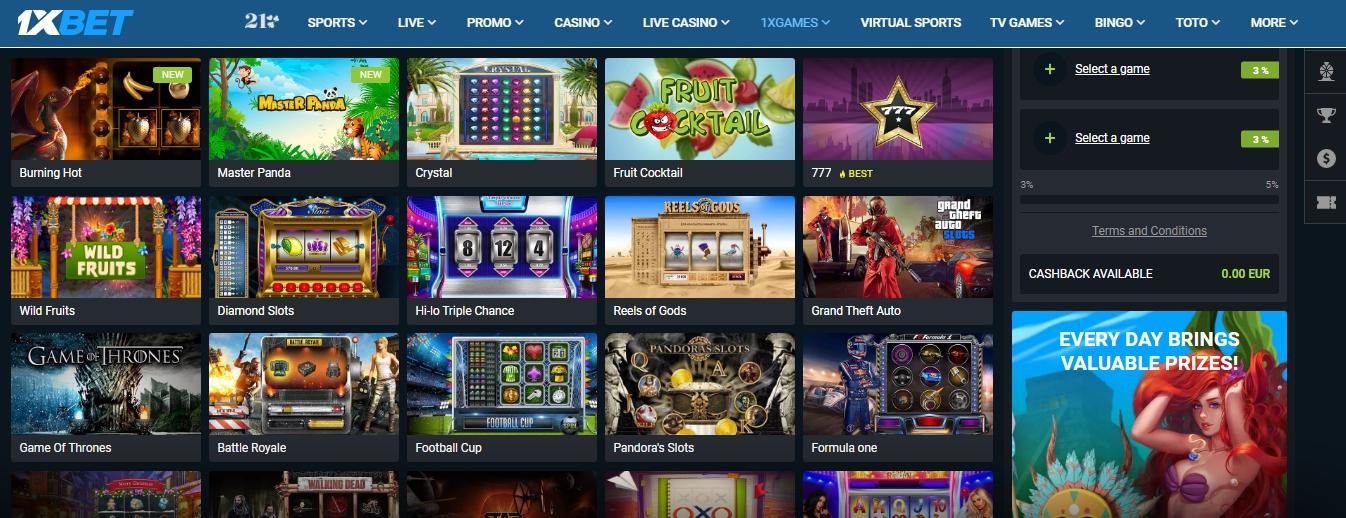 1xBet Kenya app casino